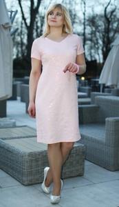 Sukienka Oscar Fashion ołówkowa z krótkim rękawem z dekoltem w kształcie litery v