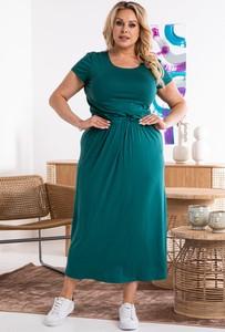 Zielona sukienka KARKO z okrągłym dekoltem z krótkim rękawem