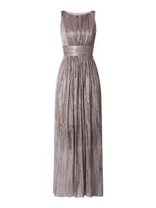 Złota sukienka Swing maxi bez rękawów z szyfonu