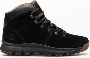 Czarne buty zimowe Timberland w stylu casual ze skóry