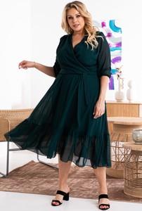 Zielona sukienka KARKO midi z długim rękawem