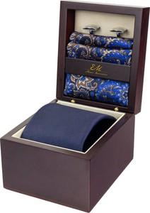 Zestaw ślubny dla mężczyzny klasyczny w kolorze granatowym: krawat + poszetka + spinki zapakowane w pudełko EM 34