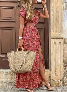 Sukienka Sandbella z krótkim rękawem w stylu boho maxi