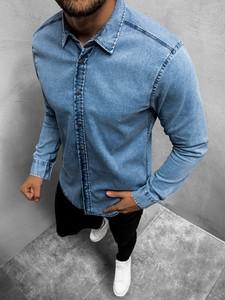Koszula ozonee.pl z jeansu z długim rękawem w stylu casual