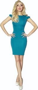 Sukienka Ptakmoda.com dopasowana z okrągłym dekoltem