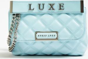 Niebieska torebka Guess mała na ramię z bawełny