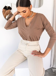 Brązowa bluzka SELFIEROOM z bawełny