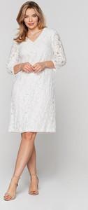 Sukienka Lavard z dekoltem w kształcie litery v prosta z długim rękawem