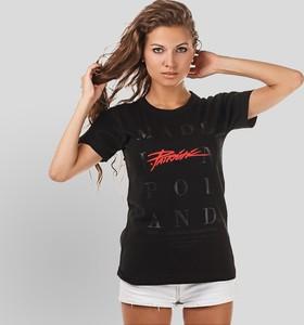 Czarny t-shirt Patriotic z krótkim rękawem z bawełny