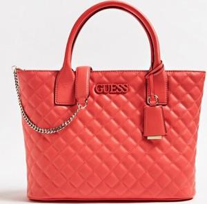 Czerwona torebka Guess z bawełny w stylu glamour