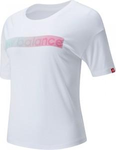 Bluzka New Balance z okrągłym dekoltem w sportowym stylu z bawełny