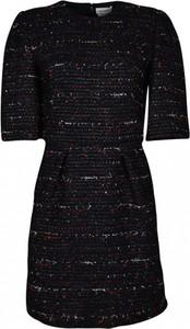 Czarna sukienka Alexander McQueen z krótkim rękawem mini z okrągłym dekoltem