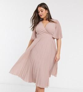 Fioletowa sukienka Asos z długim rękawem