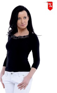Czarna bluzka Top-Bis z okrągłym dekoltem