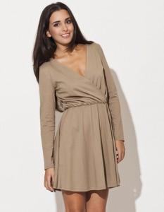Sukienka LENITIF z długim rękawem z dekoltem w kształcie litery v