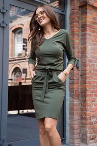 Zielona sukienka Fasardi sportowa mini z długim rękawem