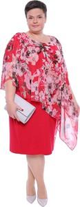Sukienka modneduzerozmiary.pl z okrągłym dekoltem midi z szyfonu