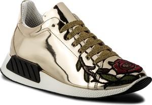 Złote buty sportowe hego's milano ze skóry w sportowym stylu