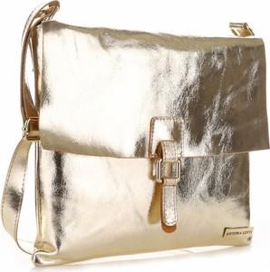 Złota torebka VITTORIA GOTTI ze skóry w stylu glamour duża