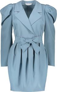 Niebieska sukienka Garden Party kopertowa z długim rękawem w stylu casual