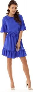 Sukienka Ella Dora asymetryczna z okrągłym dekoltem z długim rękawem