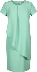 Sukienka Fokus z tkaniny midi z krótkim rękawem