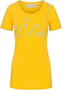 Żółta bluzka RISK made in warsaw z krótkim rękawem w stylu etno