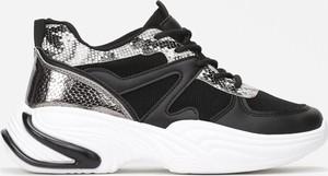 Czarne buty sportowe Multu na platformie ze skóry