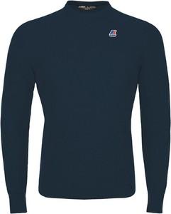Niebieski sweter K-Way w stylu casual z bawełny z okrągłym dekoltem