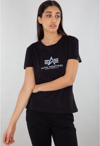 Czarna bluzka Alpha Industries z okrągłym dekoltem w młodzieżowym stylu z bawełny