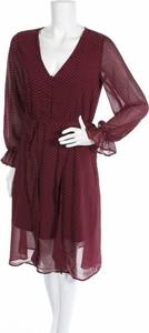 Czerwona sukienka Art Love z długim rękawem z dekoltem w kształcie litery v
