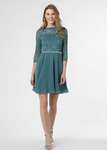 Niebieska sukienka Swing z długim rękawem z szyfonu