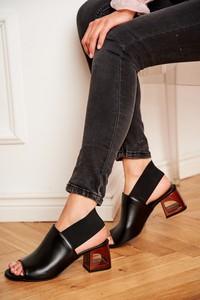 Czarne sandały Laura Messi ze skóry