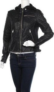 Czarna kurtka Fb Sister ze skóry krótka w stylu casual