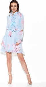 Niebieska sukienka Merg mini z jedwabiu z długim rękawem