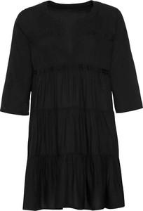 Czarna sukienka bonprix z okrągłym dekoltem mini z długim rękawem