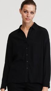 Czarna koszula Reserved z kołnierzykiem z długim rękawem w stylu casual