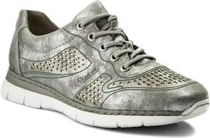 Srebrne buty sportowe rieker w sportowym stylu ze skóry ekologicznej