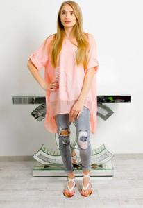 Różowa bluzka Olika z krótkim rękawem