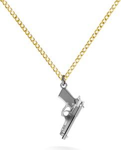 GIORRE SREBRNY NASZYJNIK PISTOLET BERETTA 925 : Długość (cm) - 50, Kolor pokrycia srebra - Pokrycie Czarnym Rodem / Żółtym 24K Złotem