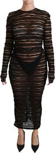 Czarna sukienka Dolce & Gabbana bodycon z długim rękawem