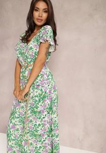 Zielona sukienka Renee trapezowa z dekoltem w kształcie litery v