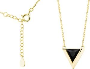 Valerio Pozłacany srebrny naszyjnik gwiazd celebrytka trójkąt triangle czarna cyrkonia srebro 925 Z1684N_G