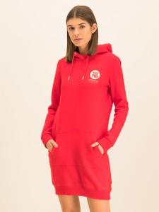Czerwona sukienka Superdry z długim rękawem