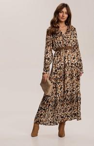 Brązowa sukienka Renee z długim rękawem maxi w stylu casual