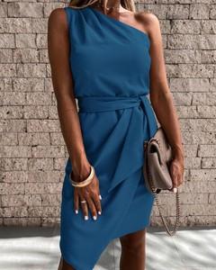 Niebieska sukienka Kendallme z okrągłym dekoltem mini