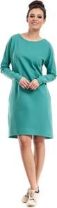 Sukienka MOE trapezowa z okrągłym dekoltem z długim rękawem