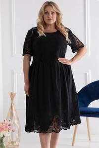 Sukienka KARKO z krótkim rękawem z okrągłym dekoltem z bawełny