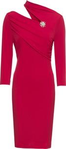 Sukienka bonprix BODYFLIRT boutique ołówkowa midi z asymetrycznym dekoltem