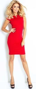 Czerwona sukienka NUMOCO z okrągłym dekoltem mini